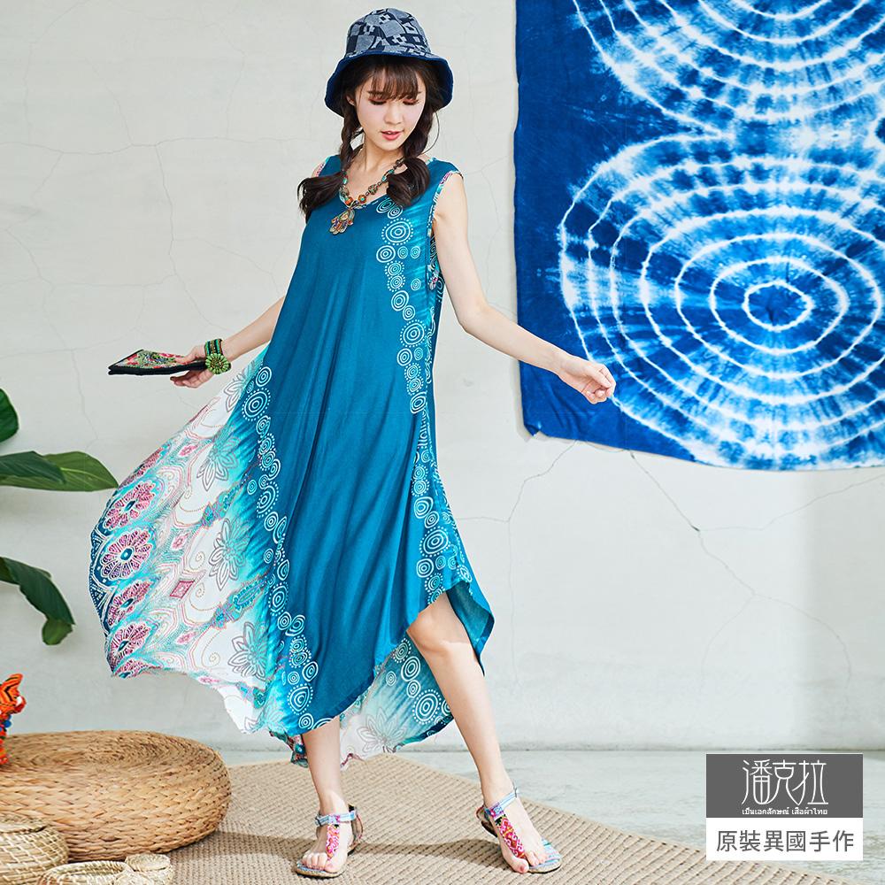 潘克拉 印花包邊大襬背心裙-藍色