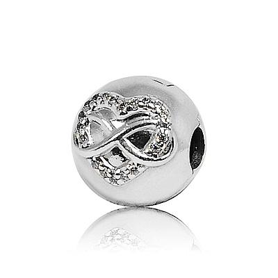 Pandora 潘朵拉 圓形無限鑲鋯愛心 夾扣式 純銀墜飾 串珠