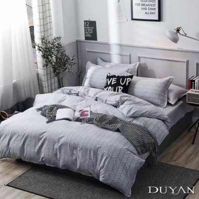DUYAN竹漾 MIT 天絲絨-單人床包枕套兩件組-幾何邂逅