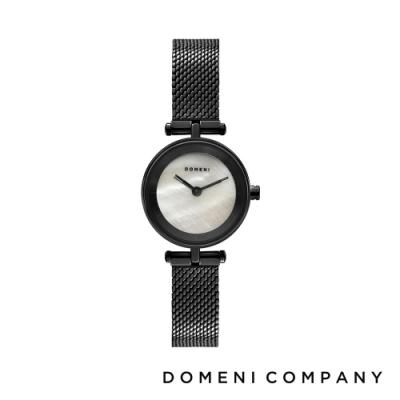 DOMENI COMPANY 經典迷你白珍珠錶盤系列 米蘭錶帶 黑錶框 -白/22mm