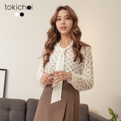 東京著衣 時髦透膚網紗拼接蕾絲蝴蝶結領上衣