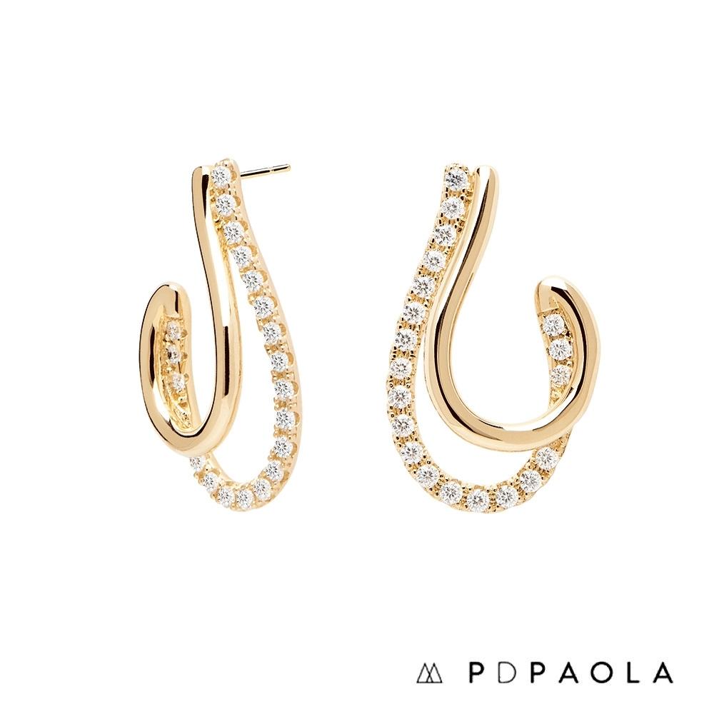 PD PAOLA 西班牙輕奢時尚品牌 奢華曲線鍍18K金鋯石耳環