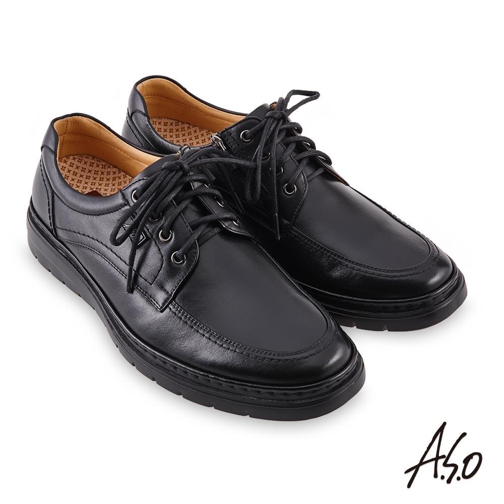 A.S.O 機能休閒勁步健康拉鍊商務休閒鞋-黑