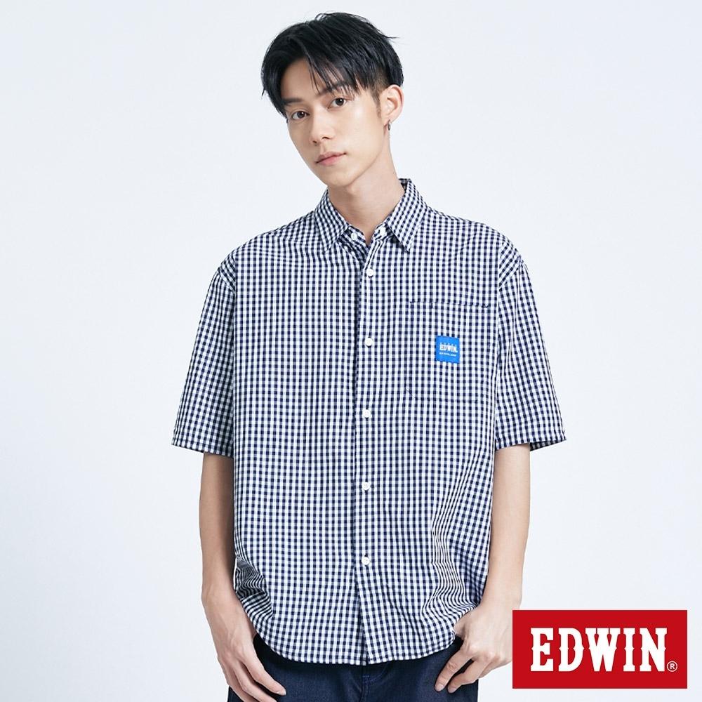 EDWIN EFS 寬版格紋落肩 短袖襯衫-男-丈青