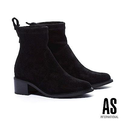 短靴 AS 帥氣個性後綁帶彈力麂布粗跟短靴-黑