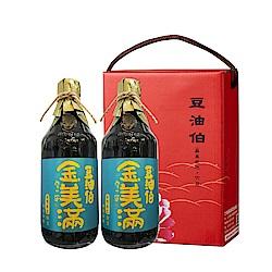 豆油伯 無添加糖金美滿醬油牡丹禮盒(2入/盒)