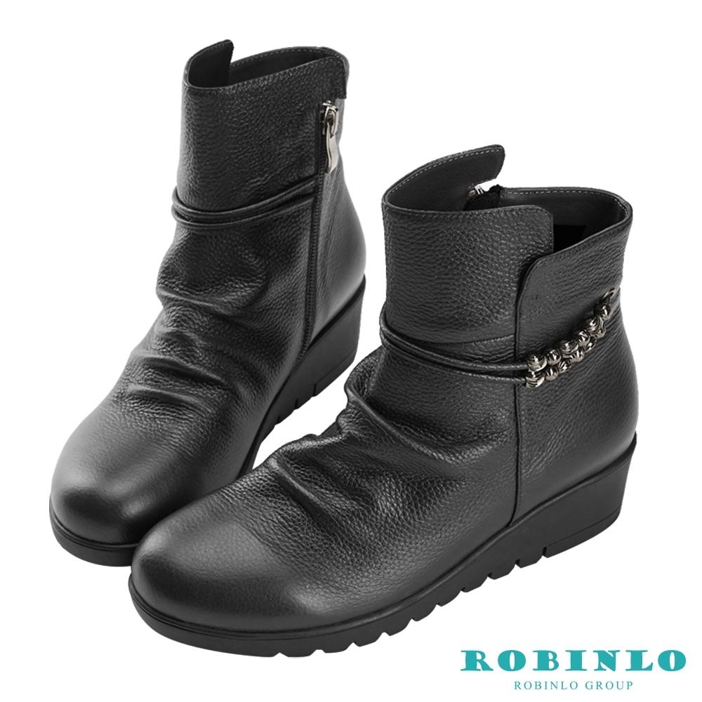 Robinlo 優雅氣質流珠牛皮短靴 黑色