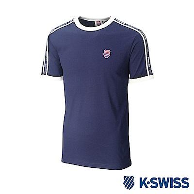 K-SWISS Soft Cool T-Shirt印花短袖T恤-男-藍