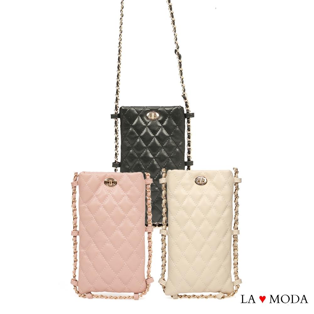 La Moda 熱銷百搭小香風菱格紋肩背斜背鏈帶包手機包(三色)