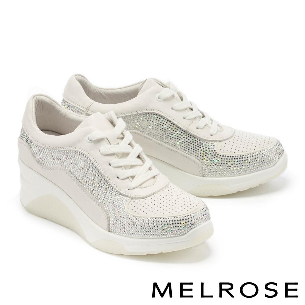 休閒鞋 MELROSE 率性魅力閃耀晶鑽綁帶厚底休閒鞋-白
