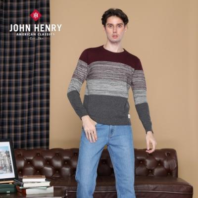 【JOHN HENRY】簡約漸層拼接針織衫-紅
