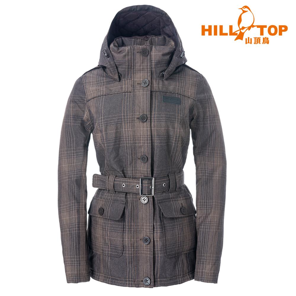 【hilltop山頂鳥】女款格紋防水蓄熱羽絨短大衣F22FZ0深咖啡