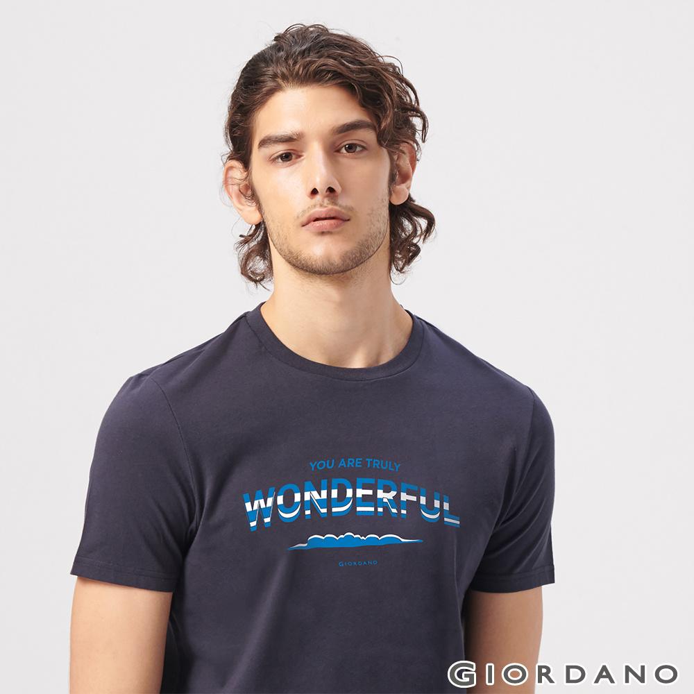 GIORDANO 男裝英文標語印花短袖T恤-28 標誌海軍藍