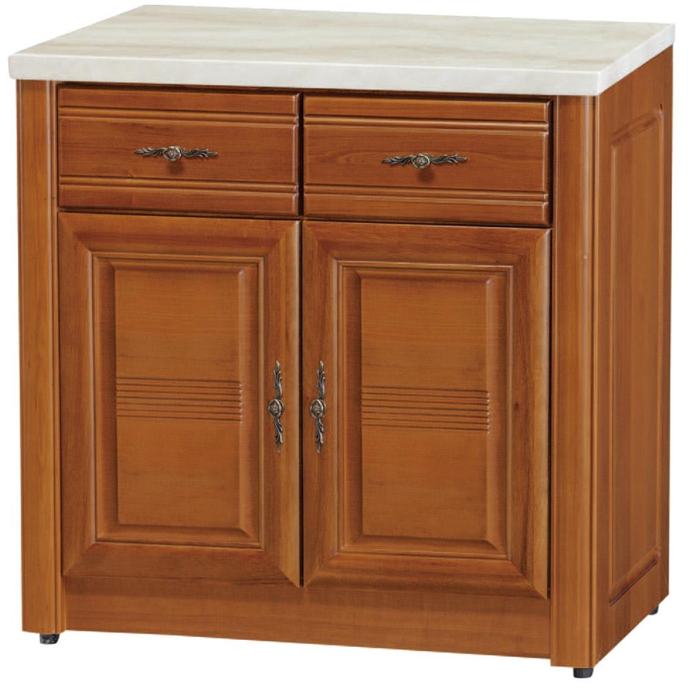 綠活居 伊森實木2.8尺雲紋石面餐櫃/收納櫃-85x45.5x82cm免組