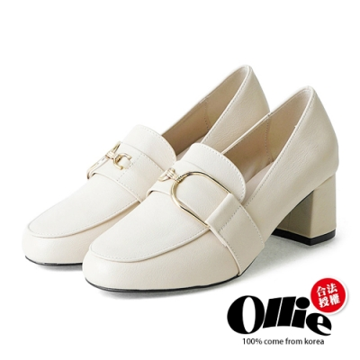 Ollie韓國空運-金屬吊環氣質感包鞋粗跟樂福鞋-現貨+預購