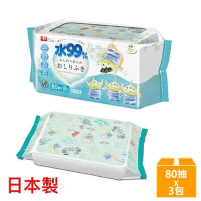 日本LEC 新款迪士尼三眼怪-純水99%濕紙巾-80抽x3包入