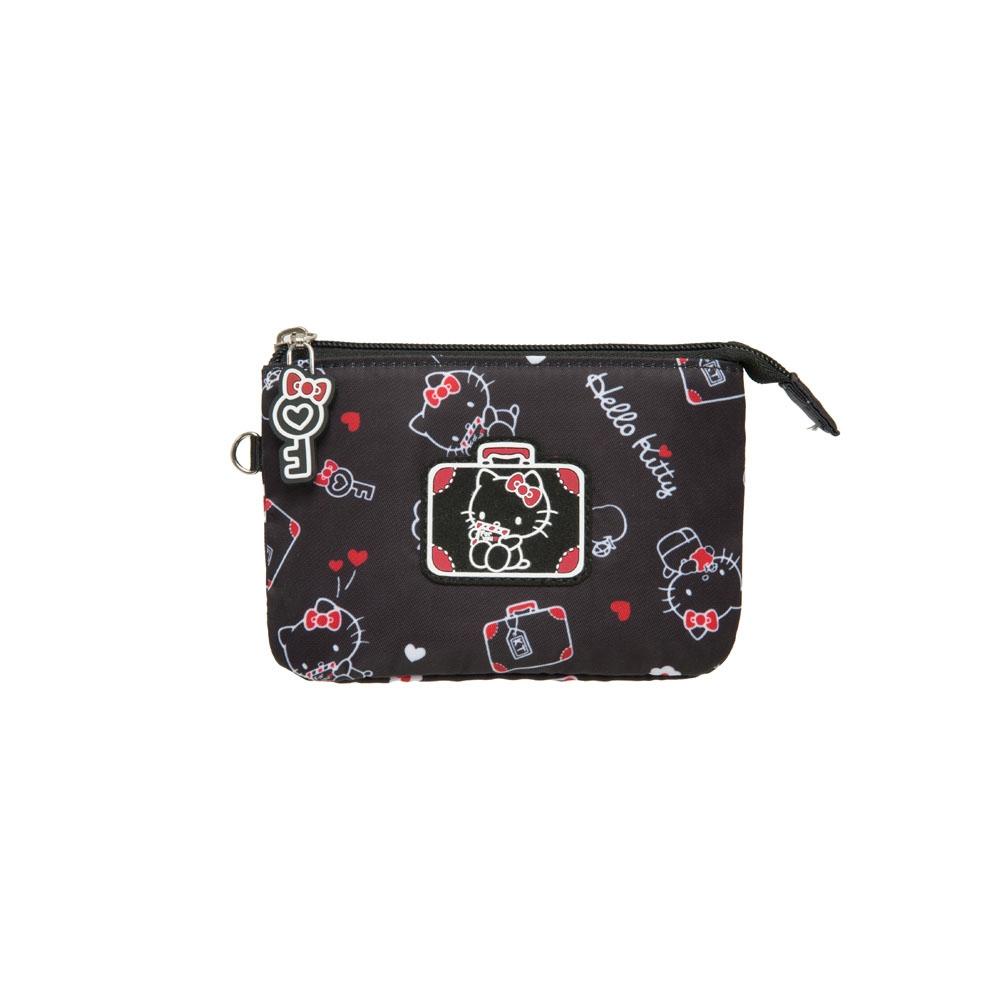 【Hello Kitty】凱蒂漫旅-三層零錢包-黑 KT01T08BK