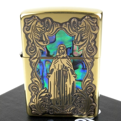 ZIPPO 日系~聖母瑪利亞-天然貝殼鑲嵌深蝕刻貼片加工打火機(銅色款)
