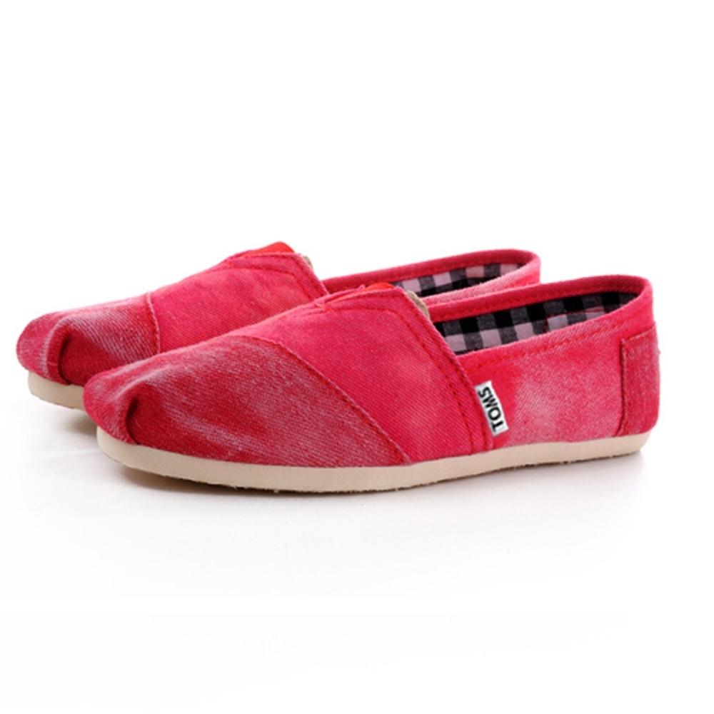 韓國KW美鞋館 (現貨+預購) 獨特水洗帆布懶人鞋-紅