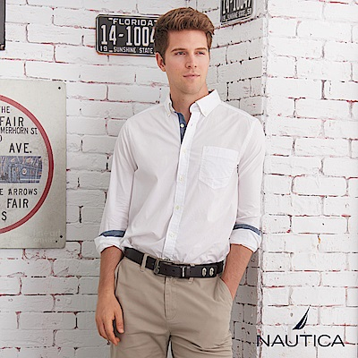 Nautica簡約素面造型長袖襯衫-白