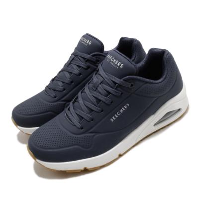 Skechers 休閒鞋 Uno Stand On Air 男鞋 增高 氣墊 記憶型泡棉鞋墊 支撐 藍 白 52458NVY