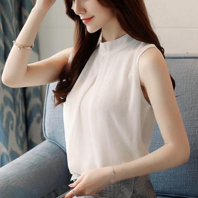 優雅文靜淑女無袖圓領雪紡衫S-2XL-白色戀人