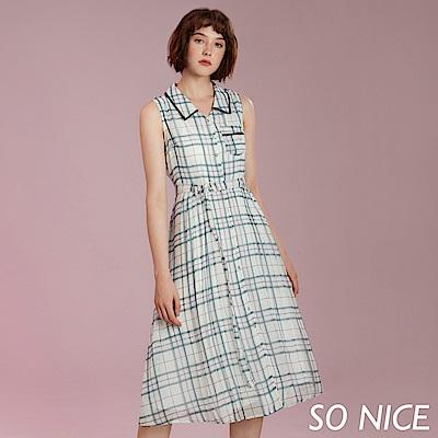 SO NICE時尚格紋雪紡洋裝