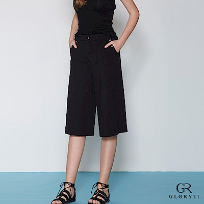 GLORY21-A-Line寬版七分褲-黑色