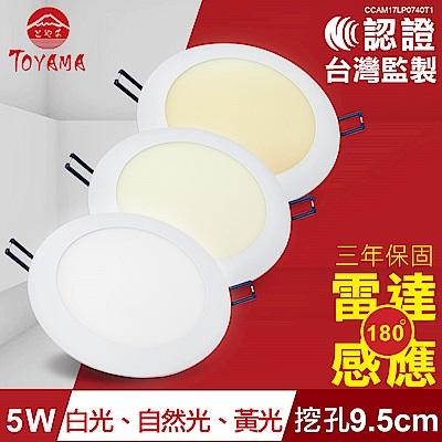 TOYAMA特亞馬 5W超薄LED雷達微波感應崁燈 挖孔尺寸9.5cm