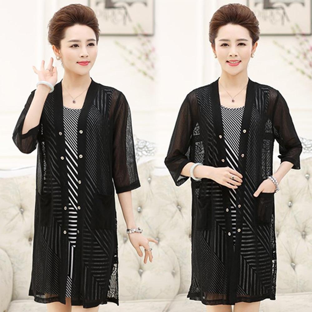 【韓國K.W.】(現貨)現貨輕柔色彩風尚條紋連身裙兩件套裝-1色
