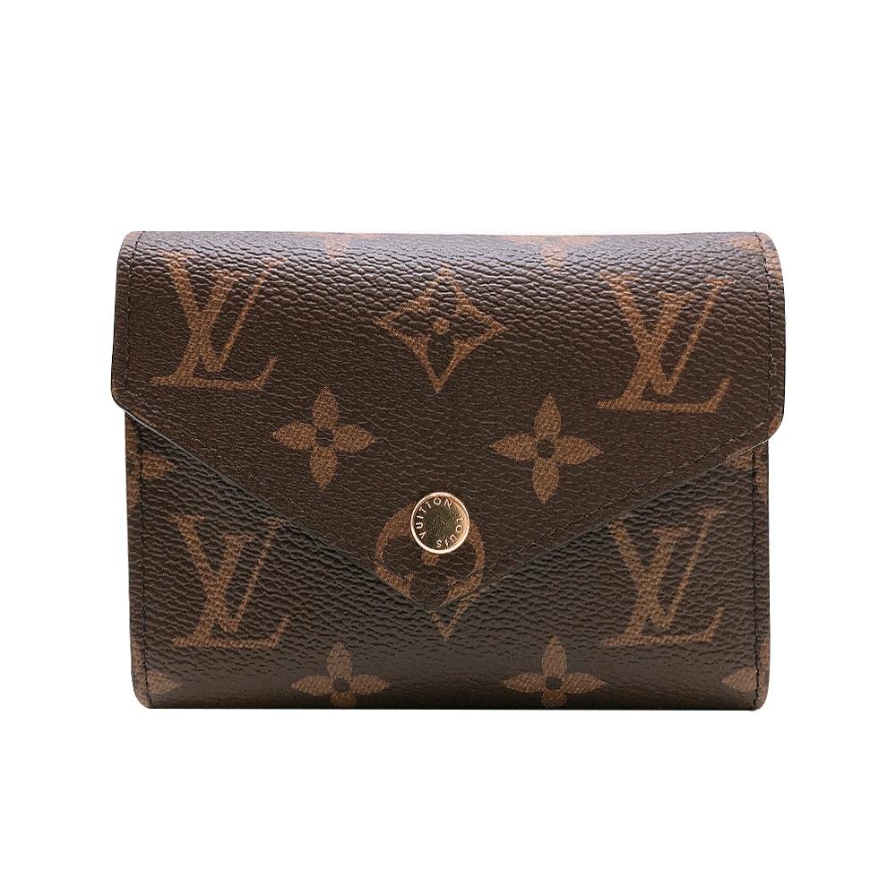 Louis Vuitton Victorine 帆布印花三折金釦信封短夾(M62472-咖)