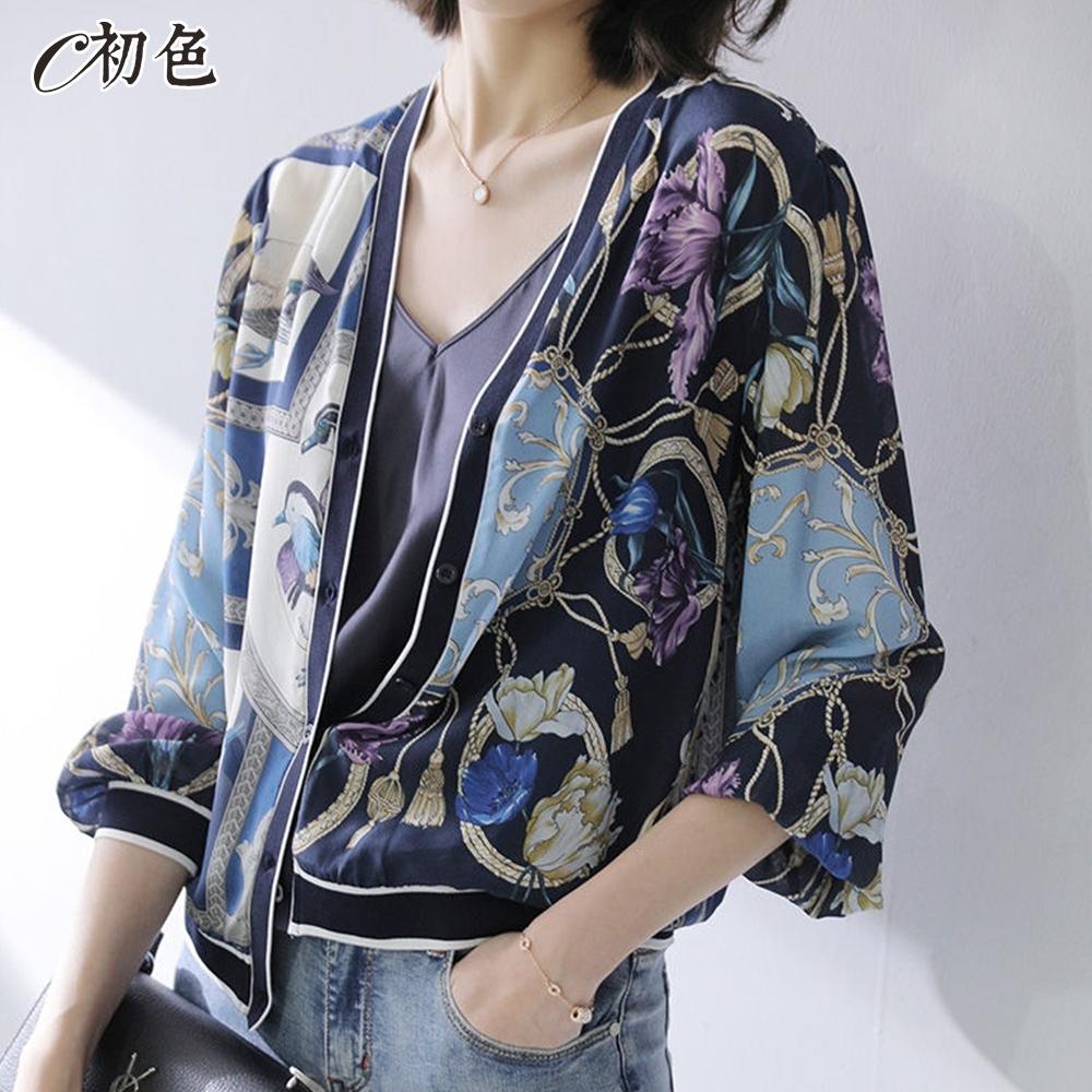 初色  古典印花涼感防曬外套-藍色-(M-2XL可選)