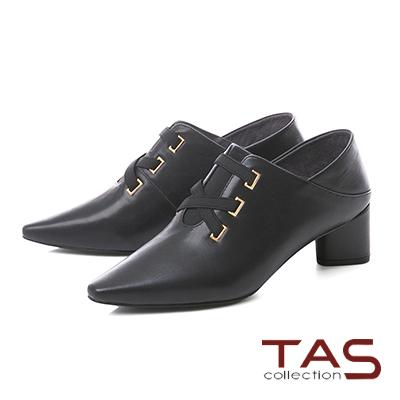 TAS素面交叉繫帶V口尖頭踩腳粗跟鞋–時尚黑