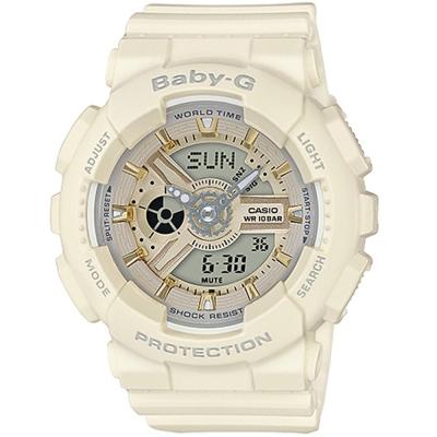 BABY-G金時尚搖滾隨性風格概念休閒錶(BA-110GA-7A2)金X米白色43.4mm