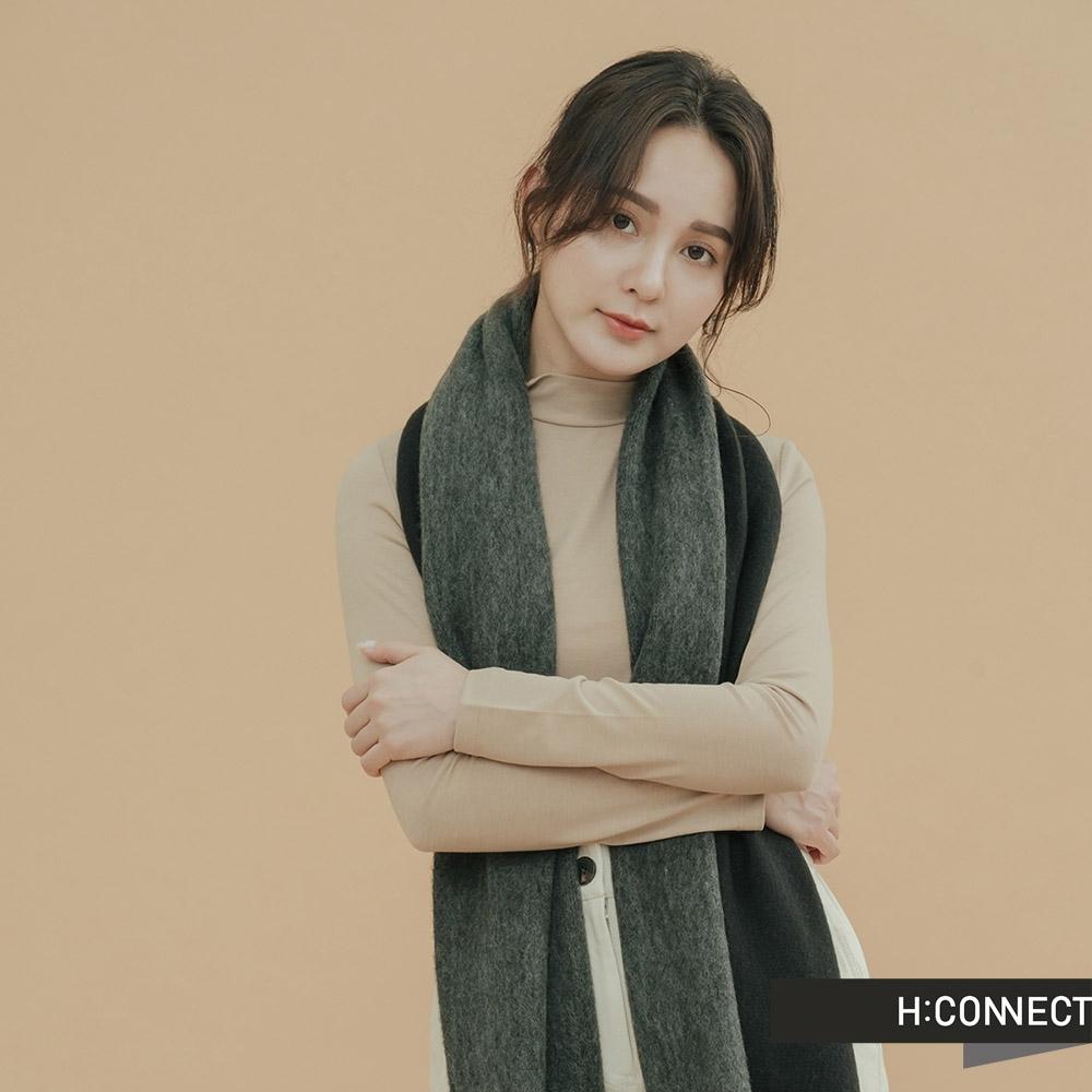H:CONNECT 韓國品牌 配件 -抽鬚雙色圍巾-灰