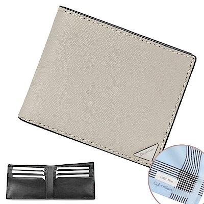 Calvin Klein 經典鐵牌LOGO防刮多卡短夾-淺灰色(加贈帕巾)