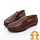 【GEORGE 喬治皮鞋】都會系列 直套式大底休閒紳士皮鞋-咖啡色