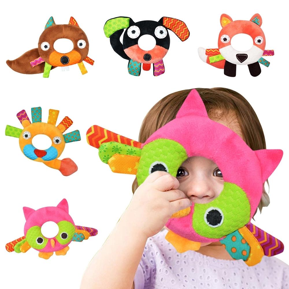 KOTY【3入】嬰兒玩具手搖鈴動物搖鈴寶寶0-1歲毛絨玩具