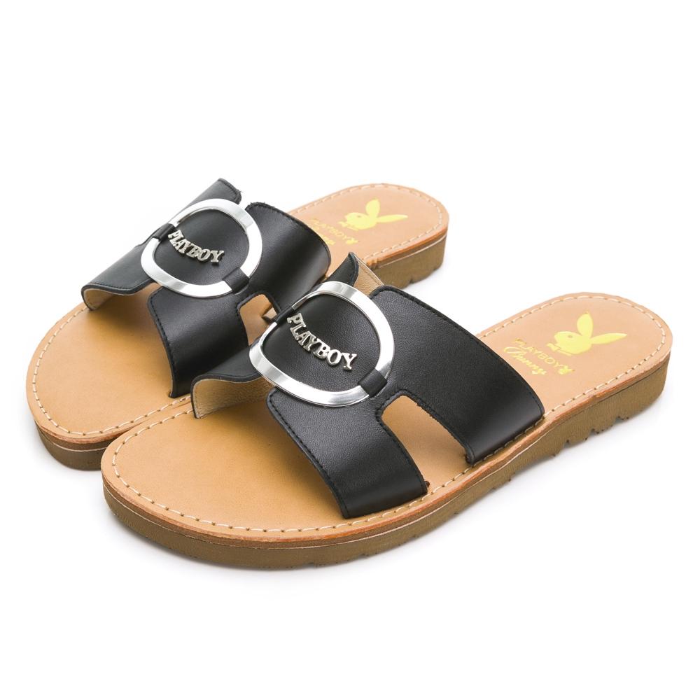 PLAYBOY 柔軟真皮 手工車縫美型涼拖鞋-黑-Y7323CC