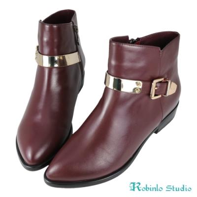 Robinlo 全牛皮金屬飾釦尖頭西部靴 酒紅色