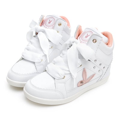 PLAYBOY 花邊兔兔內增高休閒鞋-白-Y571511