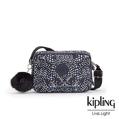 Kipling深藍羽毛印花雙層側背包-SILEN