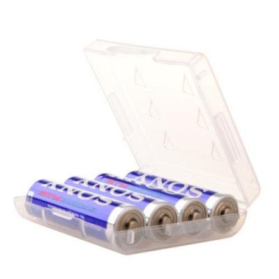Datastone 電池收納盒 3號電池 4入裝收納盒/白透明色/台灣製造 X10 個