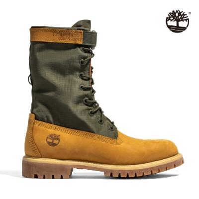 Timberland 男款小麥黃拼接皮革軍風扣環反摺長靴 A1QY8