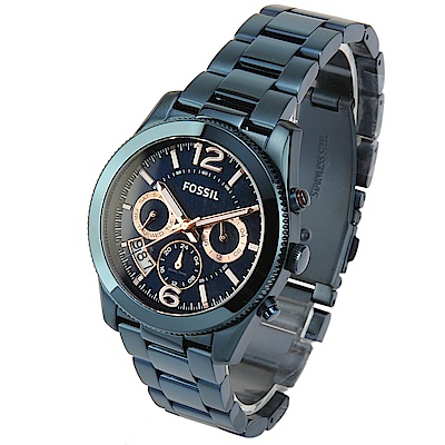 FOSSIL 海軍藍不鏽鋼三眼計時腕錶 -(ES4093)-40mm