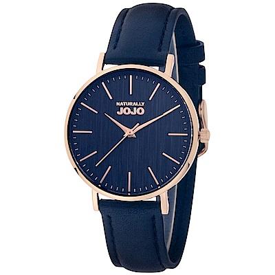 NATURALLY JOJO 生活美學時尚腕錶-玫金藍34mm
