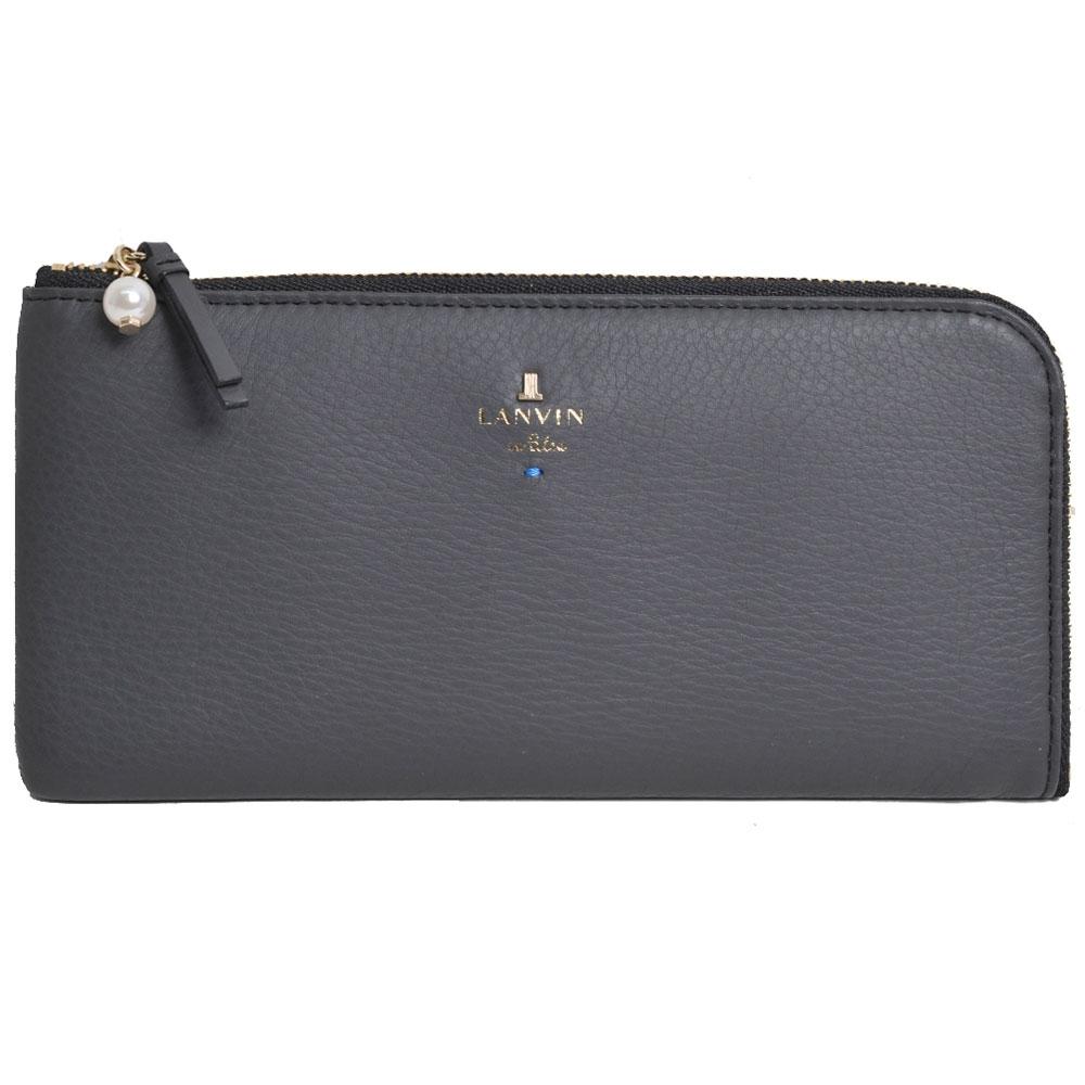 LANVIN en Bleu 品牌字母LOGO珍珠風造型L行拉鍊長夾夾(深灰)