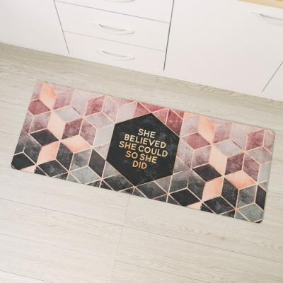 樂嫚妮 廚房防油皮革地墊 玄關 門墊 踏墊-桃紅金邊-45X120cm