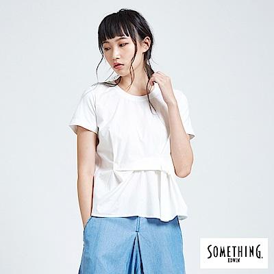 SOMETHING 立體摺圓領T恤-女-白色