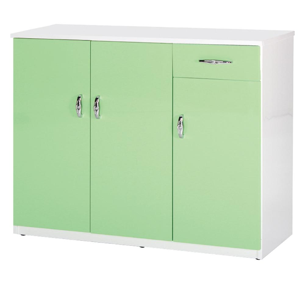 綠活居 阿爾斯環保3.2尺塑鋼三門單抽鞋櫃(12色)-96x37x112cm免組